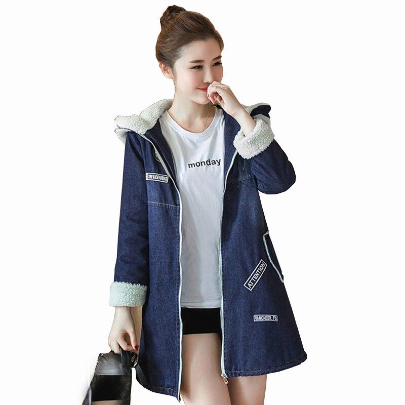 Women denim jackets Cotton 2018 Spring Autumn Warm Winter Coat Jean Cute Denim Jacket Ladies hooded Cashmere Windbreaker QH1196