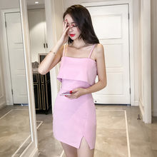 Slash cou Spaghetti sangle robe 2018 coton moulante robe d'été robe de base Club Sexy fête longue Slip robes Vestidos(China)