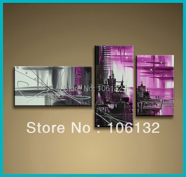 Framed 3 Panel Huge High End Stunning 3 Piece Canvas Art Black White Purple The City