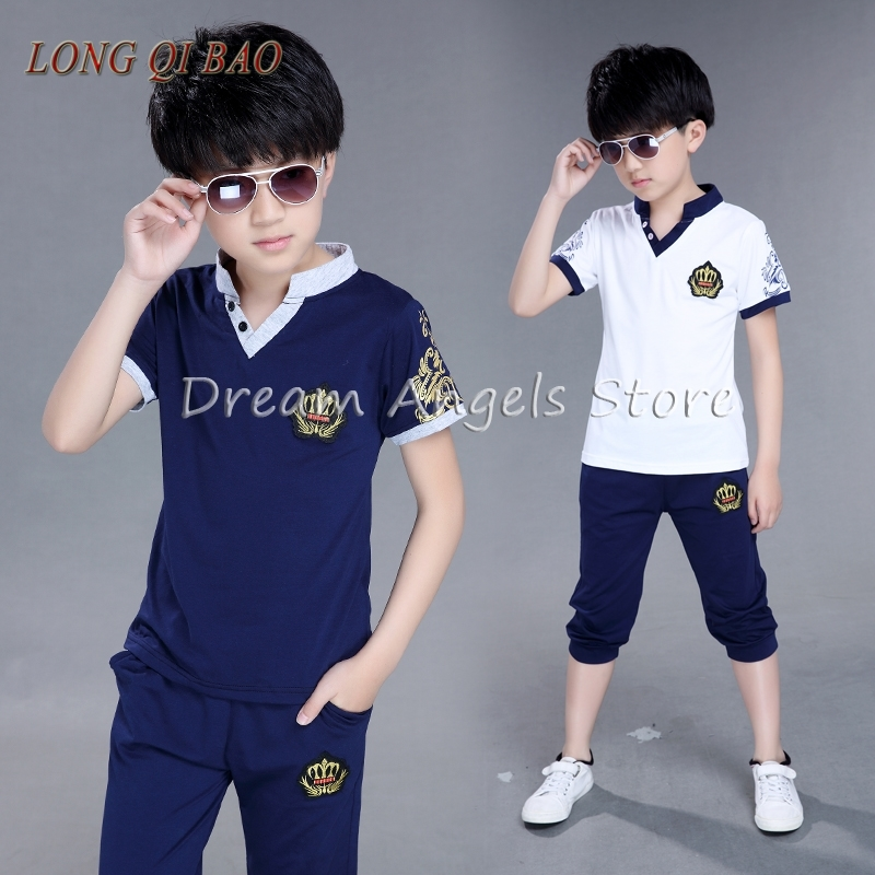 2017 new children's suit summer short sleeved T-shirt two pieces