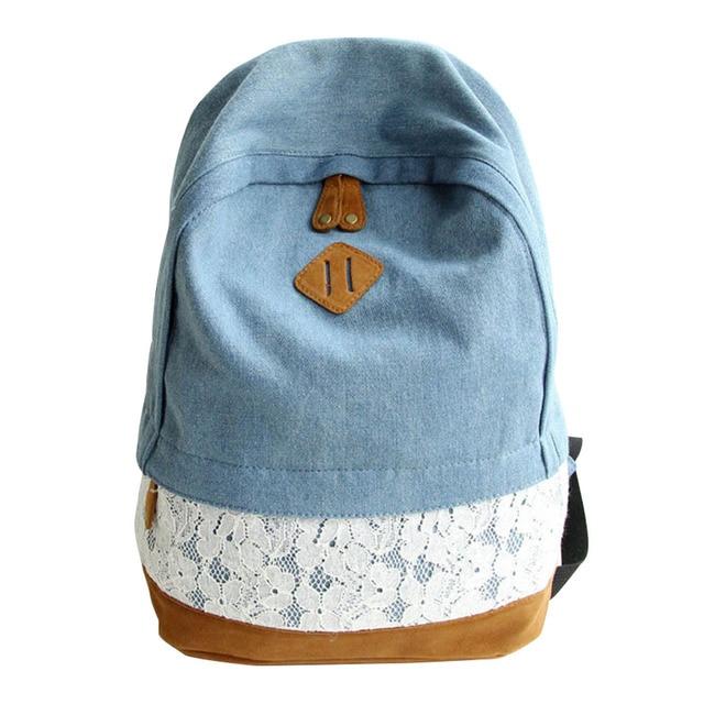 Girls Women Canvas School Bag Travel Backpack Satchel Shoulder Bag Rucksack  LOT  4 Light Blue 347abb3971bc8