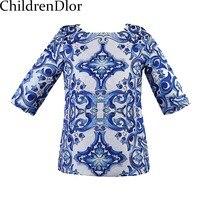 Three Quarter Sleeve Girl Dress Dobby Digital Floral Print Kids Dress Style 2015 New Brand European