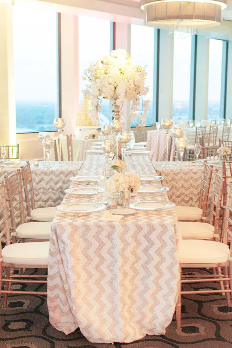 Lovely 90u0027u0027 By 132u0027u0027 Rectangle Champagne/Gold And White Chevron Sequin Table Cloth  Runner For Wedding/Event/Party/Banquet In Tablecloths From Home U0026 Garden On  ...