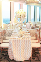90'' by 132'' Rectangle Champagne/Gold And White Chevron Sequin Table Cloth Runner For Wedding/Event/Party/Banquet