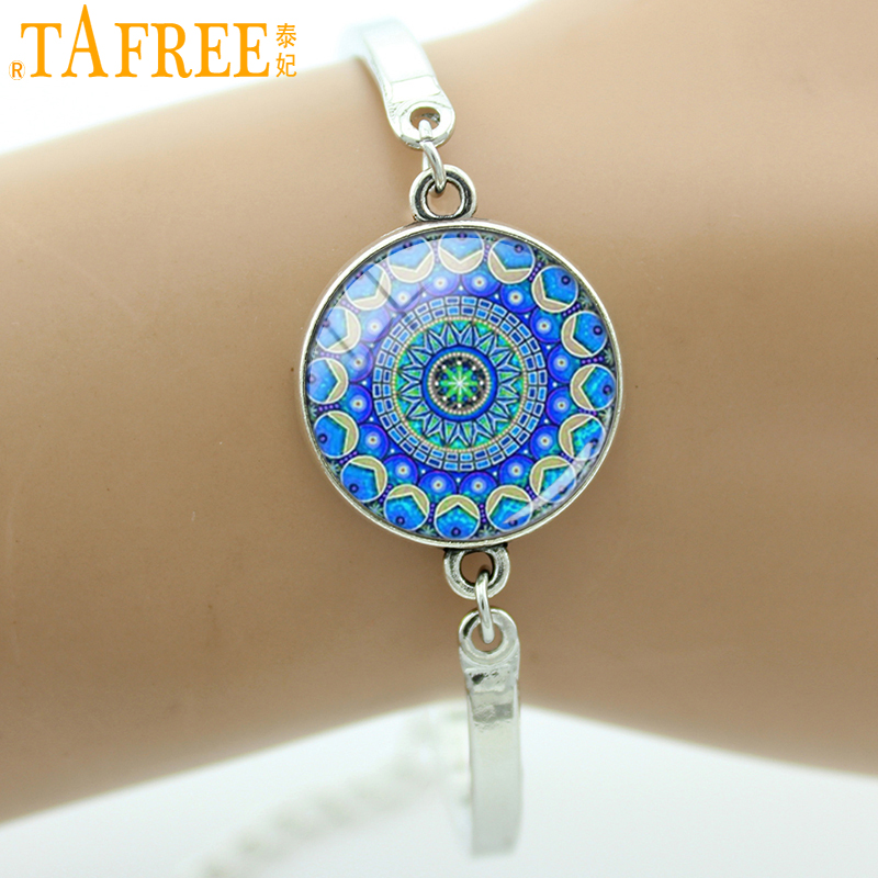 TAFREE Brand Mandala Flower art charm bracelets bangles Glass Dome Silver Plated  Buddhist Women jewelry for wedding bridal