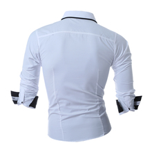 New Men Double Collar Button Unique Design Slim Fit Long Sleeved Shirts