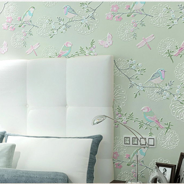 3d Modern Wallpapers Home Decor Flower Wall Paper 3d Non Woven Bird Wallpaper Decorative Bedroom Wallpaper
