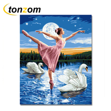RIHE Pink Ballet Dancing Girl Diy Painting By Numbers Swan Oil Cuadros Decoracion Acrylic Paint On Canvas Modern Wall