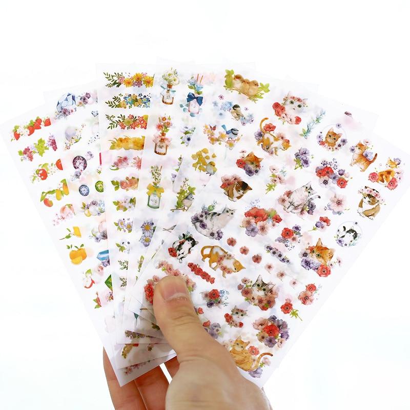 6pcs/lot Cute Cats Flowers Cartoon Animals Decoration Sticker Pvc Cartoon Stickers Diary Sticker Scrapbook Stationery Stickers