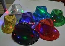 db583c5998e Freeshipping Adult Women Men Fedora LED Flashing Sequins Light Up Jazz Cap  Hip Hop Hat Party Birthday Hats Cap Christmas Wedding