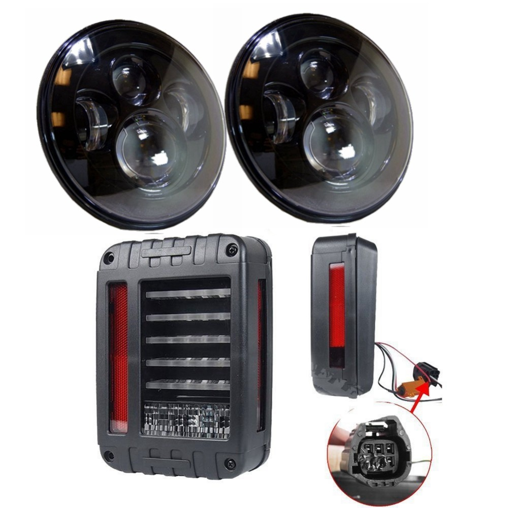 2 PC BLACK LED HEADLIGHT WITH 2x LED Tail Lights 2007-2015 Brake Reverse Light Rear Back Up Turn Singal Lamp for JEEP WRANGLER