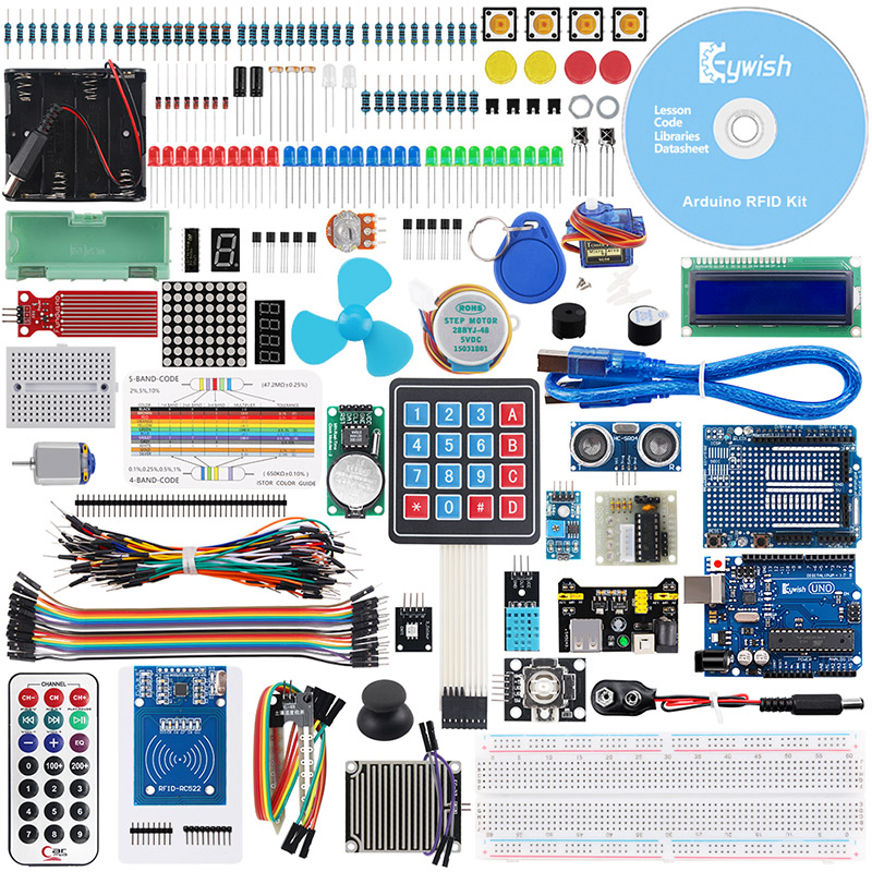 Keywish RFID Complete Sensor Super Starter Kit For Arduino UNO R3 Water level Servo Stepper Motor
