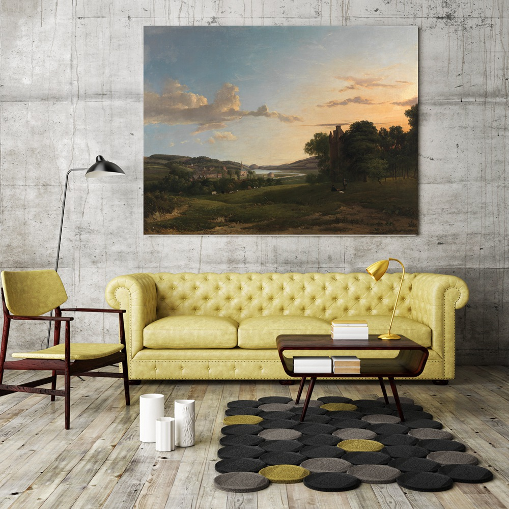Retro Country Farm Painting Canvas Print Field Landscape Picture for ...