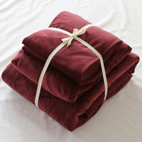 Soft Solid Colors Anti Static Velvet Bedding Set With Conductive Fibers Luxury Duvet Cover Sets Simple