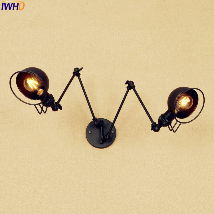 Rustic Antique Retro LED Wall Light 2 Heads Edison Loft Industrial Vintage Wall Sconce Swing Long Arm Wall Lamp Apliques Pared long swing arm retro vintage wall light fixtures edison rustic loft style industrial lamp wall sconce wandlampen lampara pared