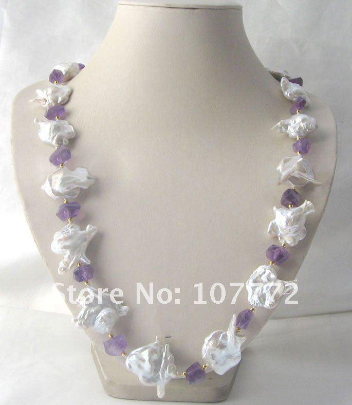 27 31mm baroque keshi reborn FW pearl & faced purple crystal necklace27 31mm baroque keshi reborn FW pearl & faced purple crystal necklace