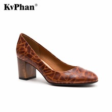 KvPhan High Heels Genuine Leather Pumps For Women Shoes Square Heel SEXY Slip On Bridal Shoes Wooden Pattern Female shoes