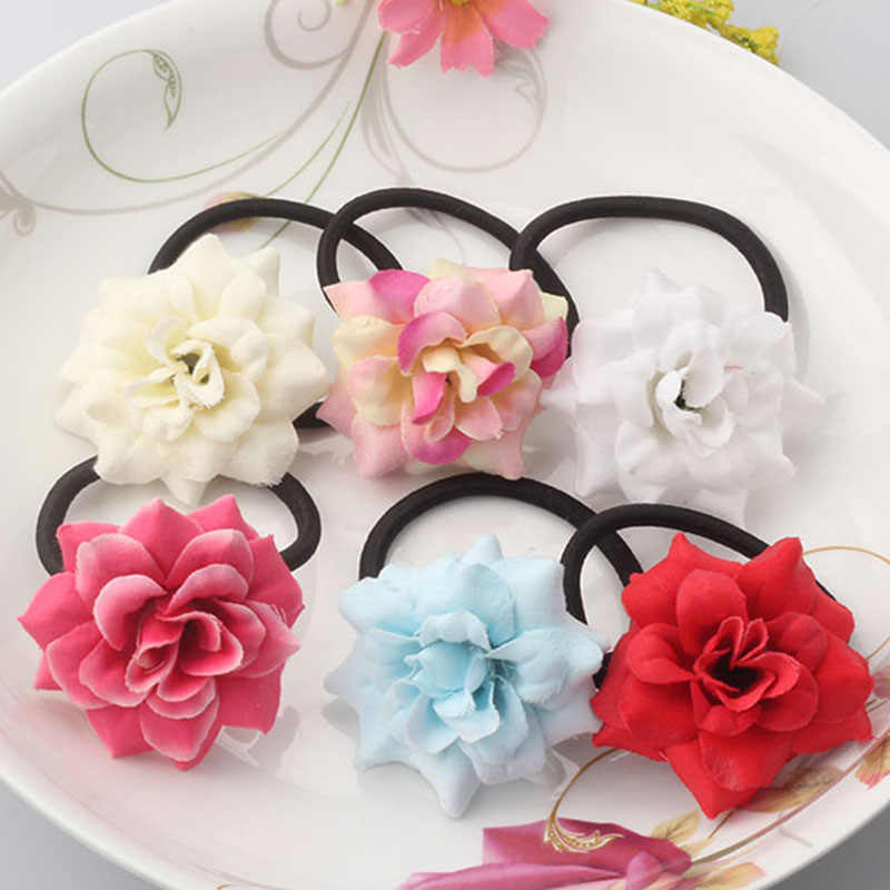 M MISM Girls Floral Elastic Hair Bands High Quality Gum for Hair Accessories for Children Rubber Bands Luxury Flower Scrunchy