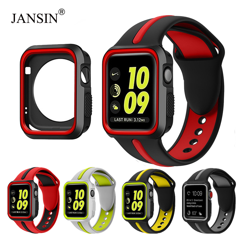 JANSIN case+Strap for apple watch series 4 3 2 1 Silicone band Bracelet screen protector for iWatch 38mm 42mm 40mm <font><b>44mm</b></font> cover image