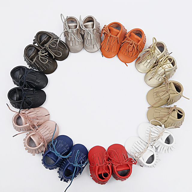 New Handmade Genuine Leather baby Fringe boots First Walkers lace-up baby moccasins gils boy Shoes 21 color freeshipping