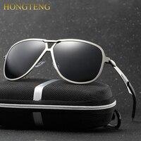 Hongteng brand beste mannen zonnebril gepolariseerde spiegel lens grote oversize eyewear accessoires zonnebril voor mannen/vrouwen
