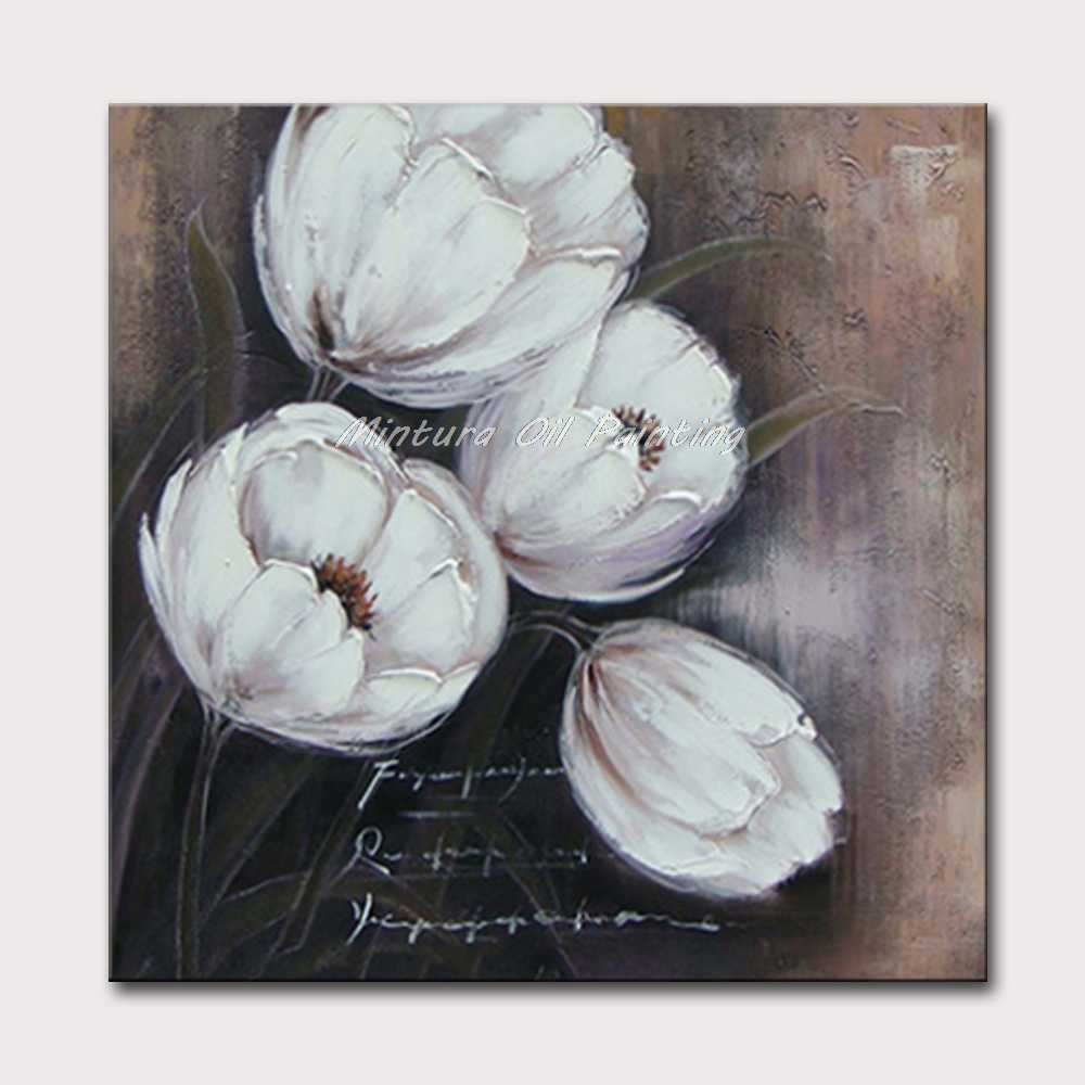 Mintura Painting for Living Room Wall Art  Pure White Flower Acrylic Canvas Oil paintings Art Hand Painted Hotel Decor No Framed