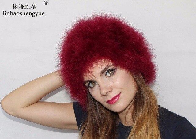 8caf5732b87 Linhaoshengyue Ostrich hair fire feather fur hat than hair fox reael fur  warm in winter freeshipping