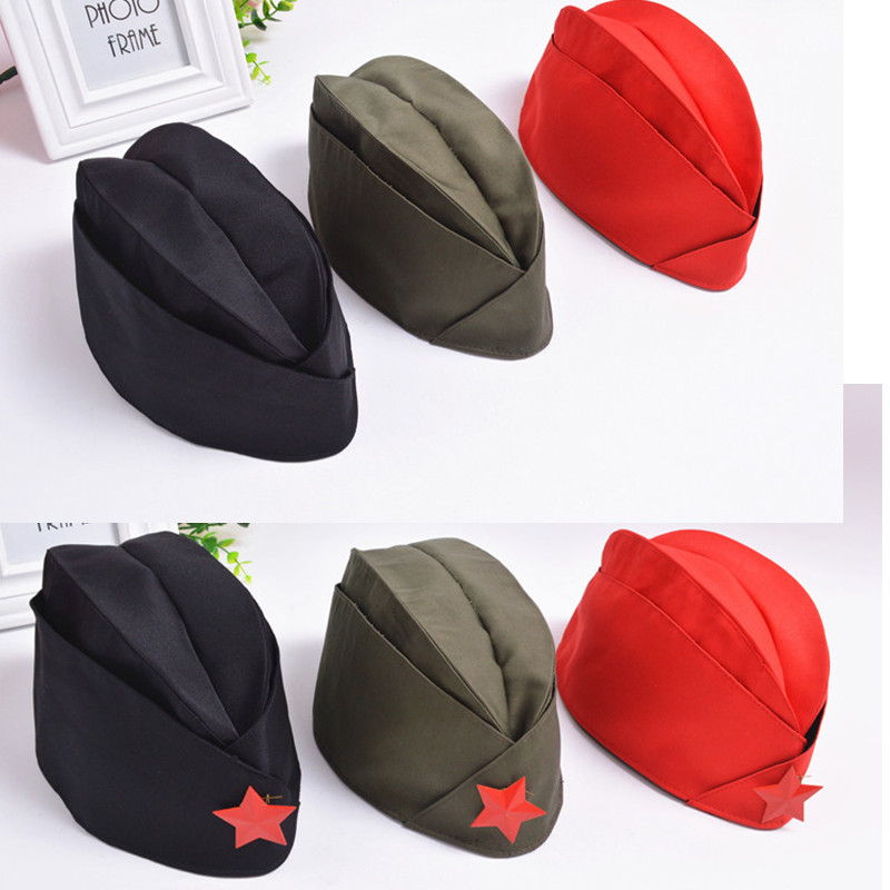 2018 Russian Army Cap Tricorne Green Camo Bonnet  Star Logo Women Sailor Military Stage Performance Dance Hats Chinese Boat Caps