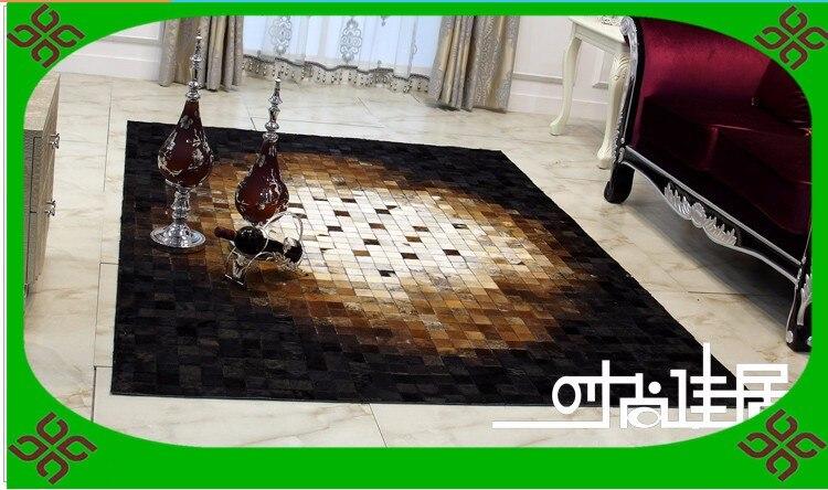 Tapis d'art à la mode 100% naturel véritable cuir de vachette tapis réveil
