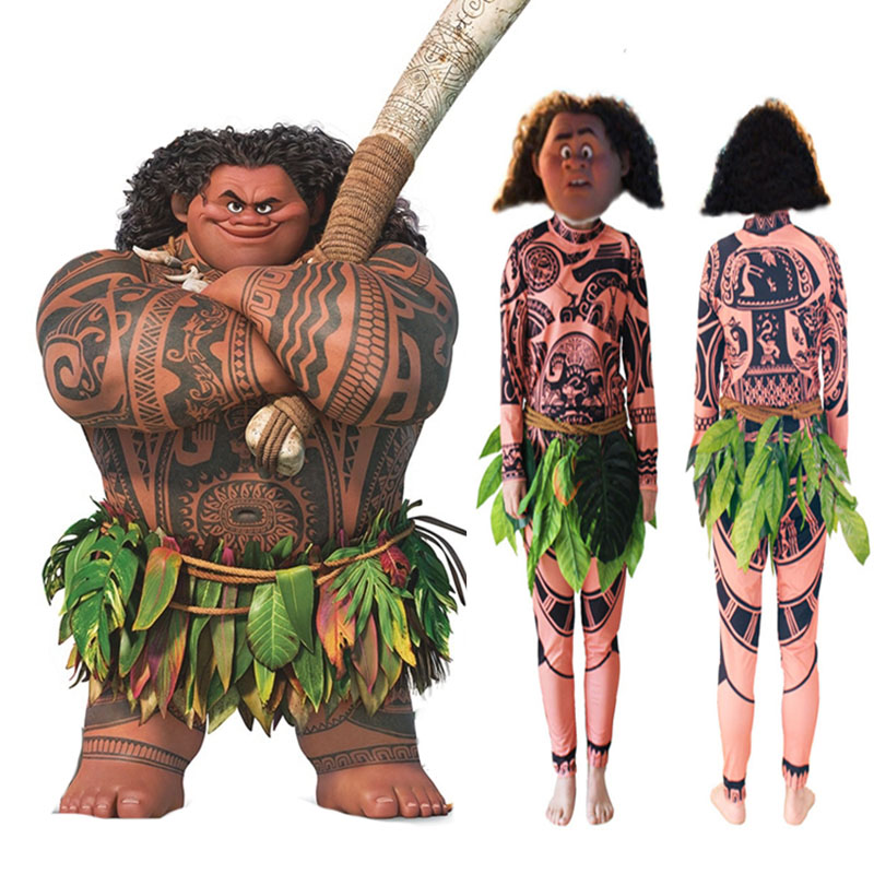 Family Moana Maui Costume For Adult Children Funny Cosplay Tribal Outfit Men Women Kid Boys Top Pants Wigs Party Set Halloween