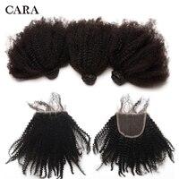 Афро кудрявый вьющиеся Связки с закрытием монгольский Девы человеческих волос соткать 3 пучки волос с закрытием естественный 4B 4C волос CARA