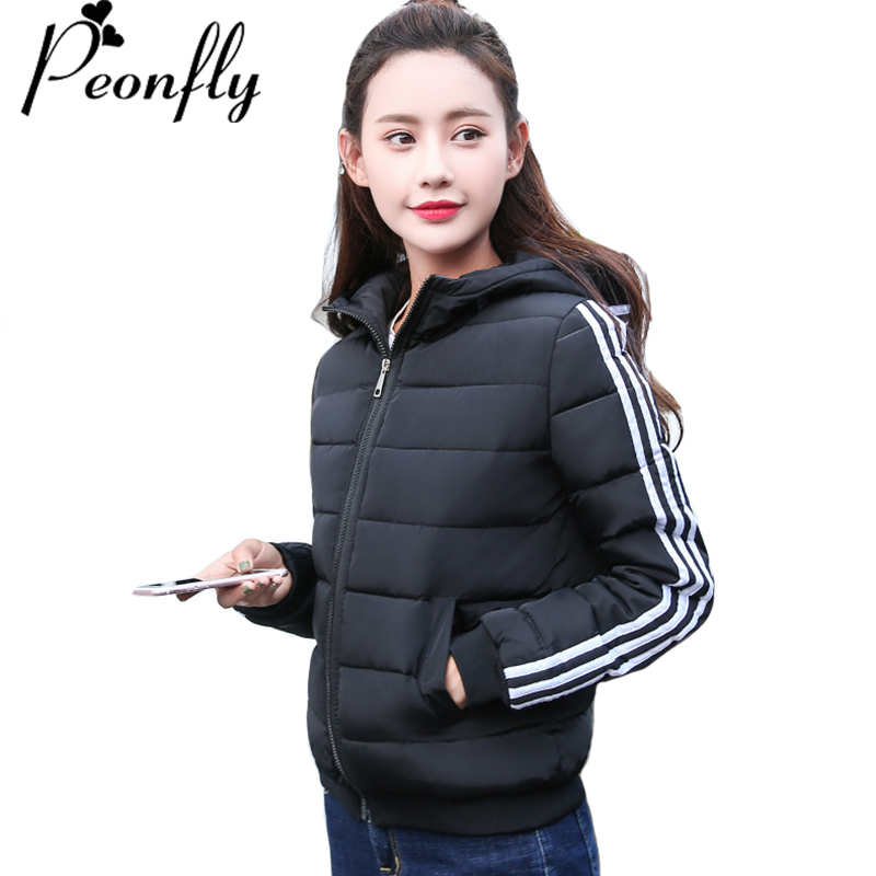 PEONFLY Women Winter   Jacket   Autumn Outwear Womens   Basic     Jacket   Cotton Padded Female Short Coat Jaqueta Feminina Inverno
