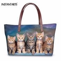INSTANTARTS Kawaii 3D Animal Cat Family Print Women Tote Bags Fashion Brand Designer Ladies Shopping Handbags Large Shoulder Bag