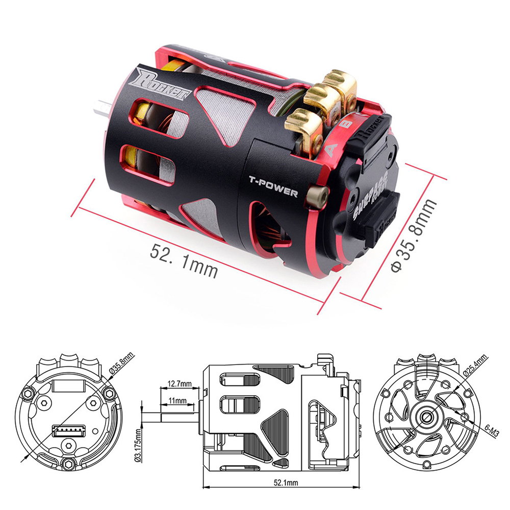 Image 2 - Rocket 540 V4S 3.5T 4.5T 5.5T 6.5T 7.5T 8.5T 9.5T 10.5T Sensored Brushless Motor for Modified Competition 1/10 1/12 F1 RC Ca-in Parts & Accessories from Toys & Hobbies