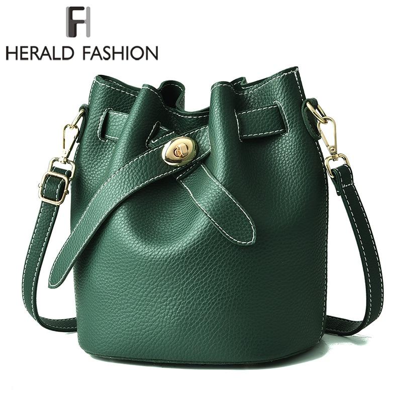 Herald Fashion Women Bucket Capacity Composite Bag High Quality Leather Women Handbag Vintage Female Shoulder Bag Crossbody Bag high quality tote bag composite bag 2