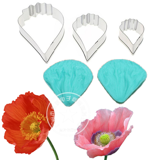Large poppy flower veiner mould fondant cake decorating tool large poppy flower veiner mould fondant cake decorating tool silicone petal veiner mould and stainless steel mightylinksfo