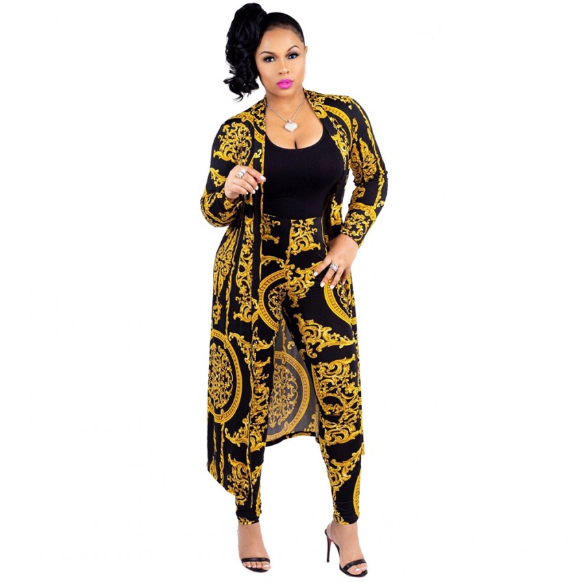 Women Fashion Gold Flower Print Two 2 Piece Set Long Pencil Pants+X-Long Cape Coat 2019 Spring Female Sexy Club Casual Clothing