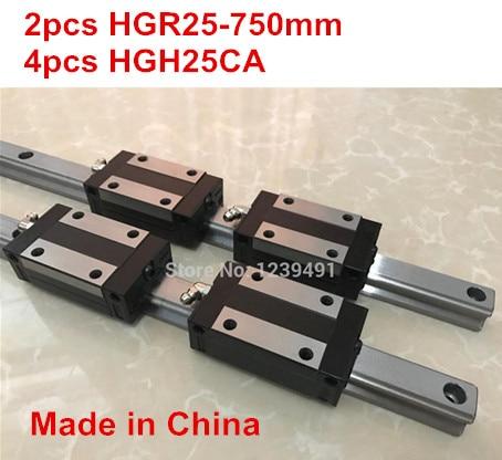 HG linear guide 2pcs HGR25 - 750mm + 4pcs HGH25CA linear block carriage CNC parts hg linear guide 2pcs hgr25 550mm 4pcs hgh25ca linear block carriage cnc parts