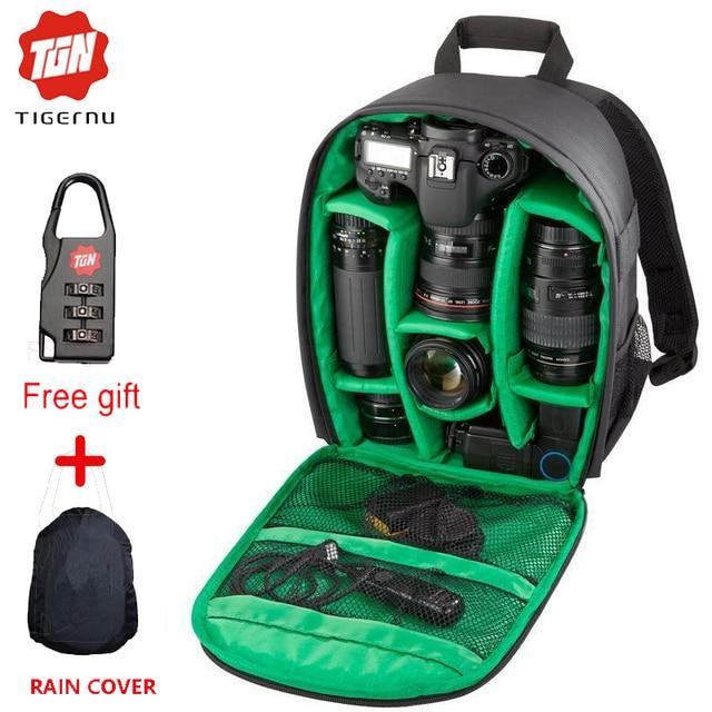 Tigernu Новый Шаблон сумка ДЛЯ Фотокамеры DSLR Рюкзак Видео Фото Сумки для Камеры d3200 d3100 d5200 d7100 Небольшой Компактный Рюкзак для Камеры