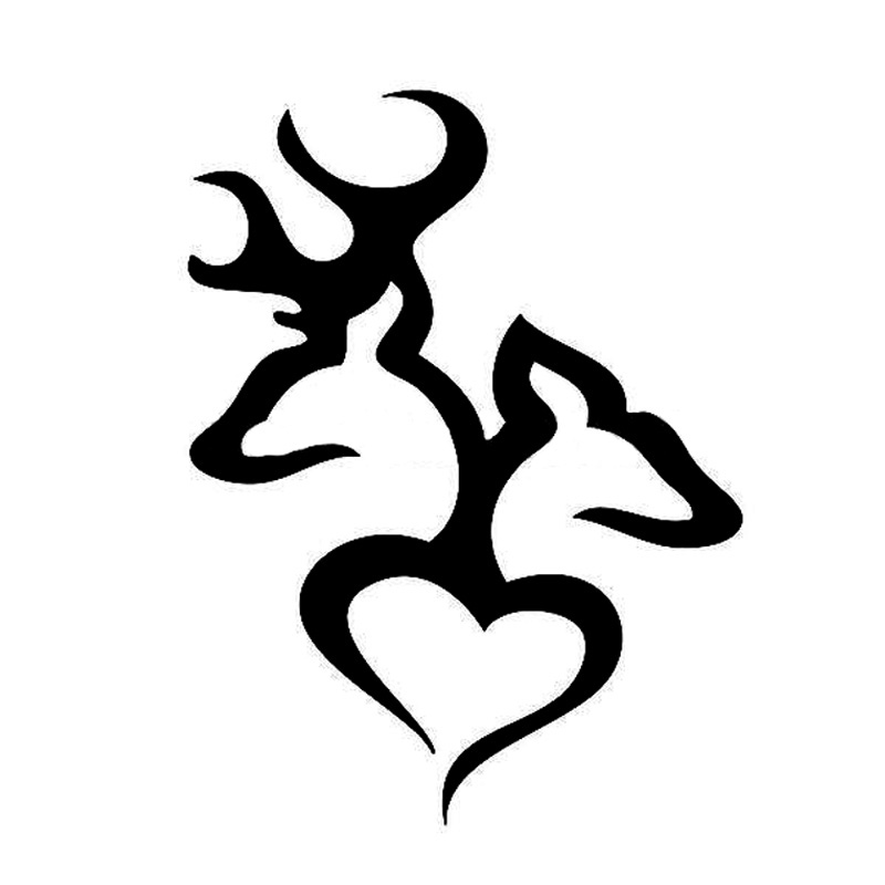 10.5*14CM Browning Love Deer Hunter Hunting Cartoon Car Stickers Decorative Decals Black/Silver C2-0113