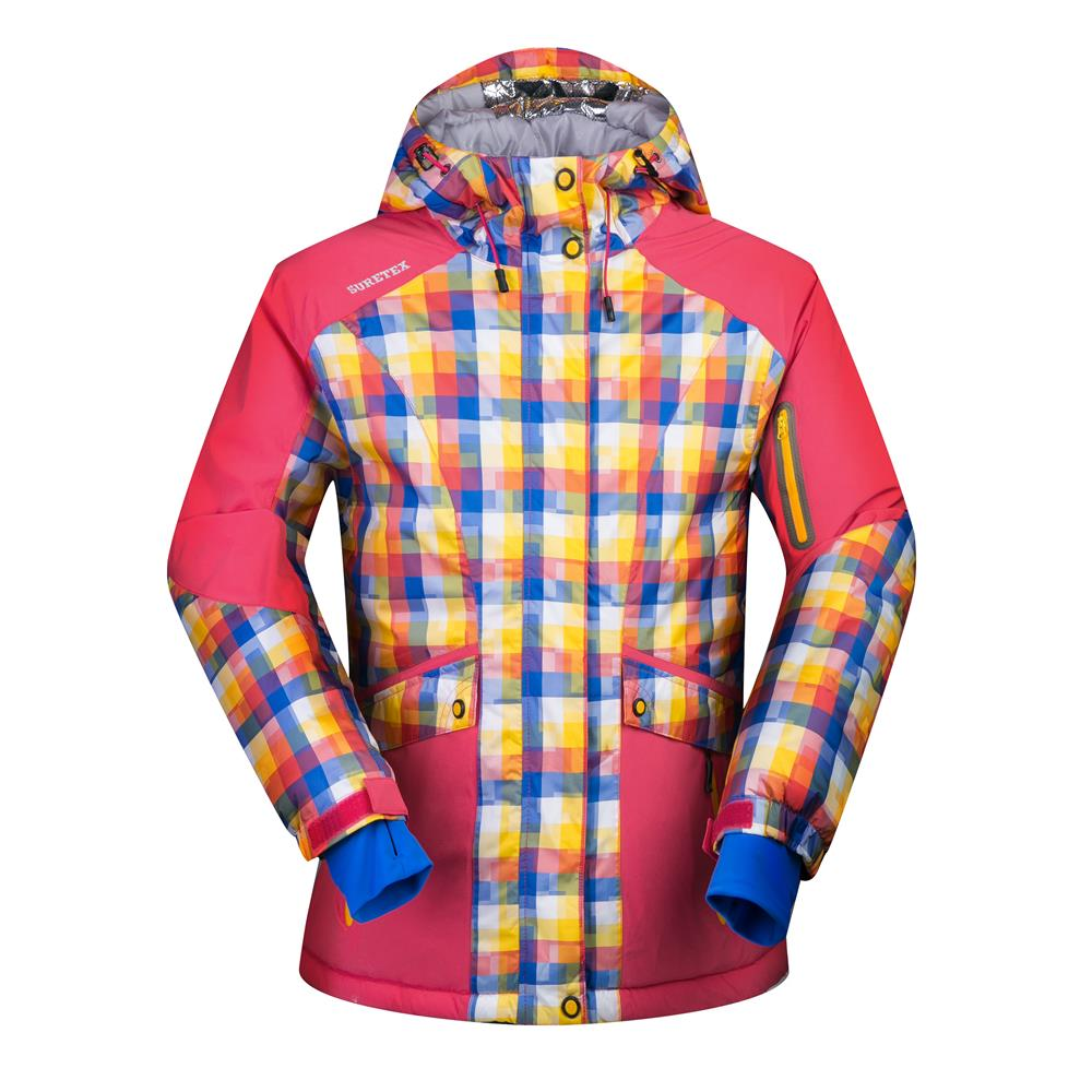 ski jacket women winter thermal cotton padded snowboard jacket for female  plaid hodded woman snow coats waterproof skiing jacket-in Skiing Jackets  from ... 61114d983