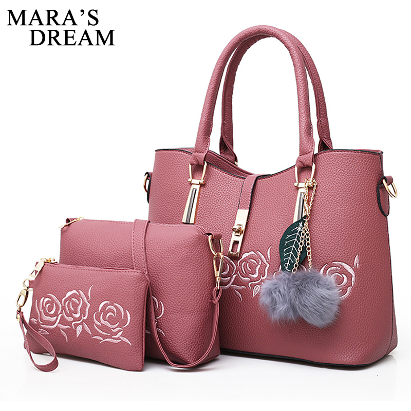 Maras Dream 3pcs Leather Bags Handbags Women Famous Brand Shoulder Bag Female Casual Tote Women Messenger Bag Set Bolsas BagsMaras Dream 3pcs Leather Bags Handbags Women Famous Brand Shoulder Bag Female Casual Tote Women Messenger Bag Set Bolsas Bags