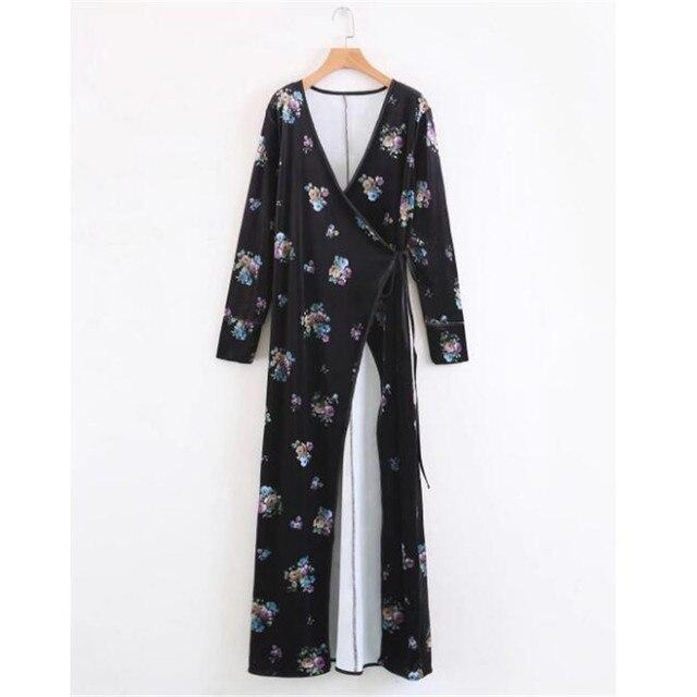 f86bfc67d06 US $23.77 |boho velvet floral winter wrap dress kimono maxi long women  dress with sashes bohemian kimono cardigan with belt vestidos-in Dresses  from ...