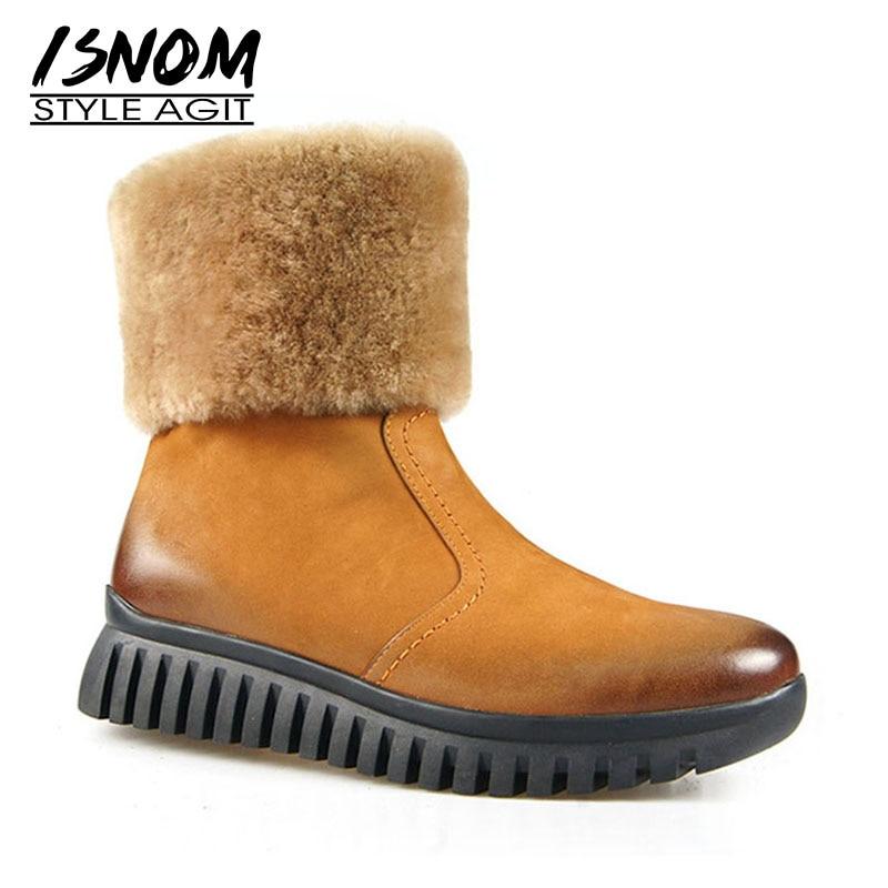 ISNOM Genuine Leather Women Boots Round Toe Zip Fur Wool Liner Footwear Warm Female Snow Boot Platform Shoes Woman 2018 Winter цена