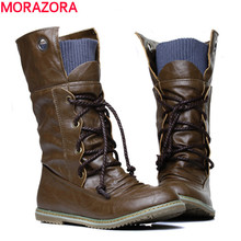 MORAZORA 2016 new fashion motorcycle ankle boots for women Autumn winter snow boots pu leather flats