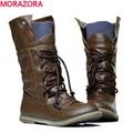 MORAZORA 2016 novo botas moda motocicleta tornozelo para as mulheres, Outono inverno botas de neve de couro pu apartamentos sapatos plus size 34-46
