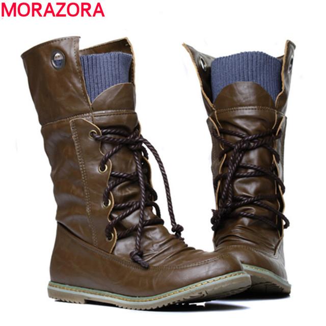 MORAZORA 2016 nuevas de la manera del tobillo de la motocicleta cargadores para las mujeres, Otoño invierno nieve botas de cuero de la pu zapatos de los planos más el tamaño 34-46