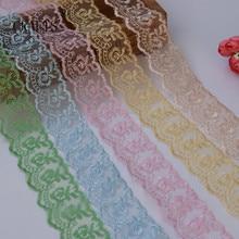 Cinta de encaje bordada de 10 yardas, tela recortada de encaje puro para decoración de boda, hogar, bricolaje, Bordado hecho a mano, accesorios íntimos