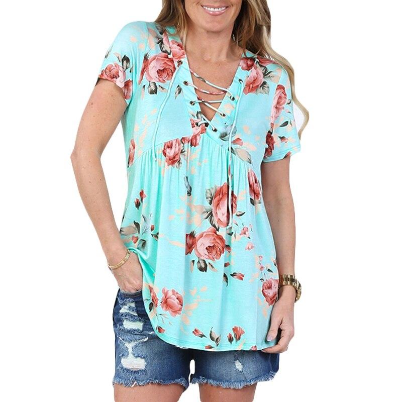 Encaje Blusa Camisa Moda Mujeres Flor de Impresión Floral de La Blusa Floja V-cu