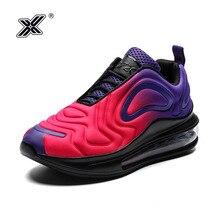 X ขายร้อนสีม่วงที่มีสีสัน Star Air Cushion รองเท้าผ้าใบสตรี Air Trainers gym คู่รองเท้า Comfort Elastic Race รองเท้าผู้หญิงสบายๆ